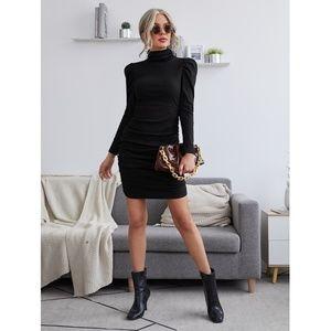Puff Sleeve Ruch Detail Black Mini Dress